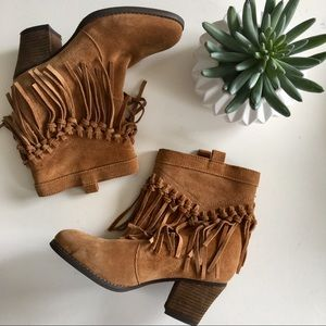 Sbicca Sound Suede Leather Fringed Bootie